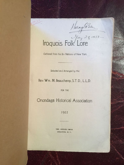 Image for Iroquois Folk Lore Gathered from the Six Nations of New York  Original 1922 Edition For The Onondaga Historical Association