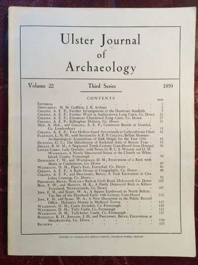 Image for Ulster Journal Of Archaeology Third Series Volume 22 1959 A Newly Discovered Statue At The Church On White Island, County Fermanagh