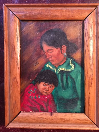 Image for Original Mohawk Artist Albert White Oil Painting 5 x 7 Navajo Mother and Child Signed