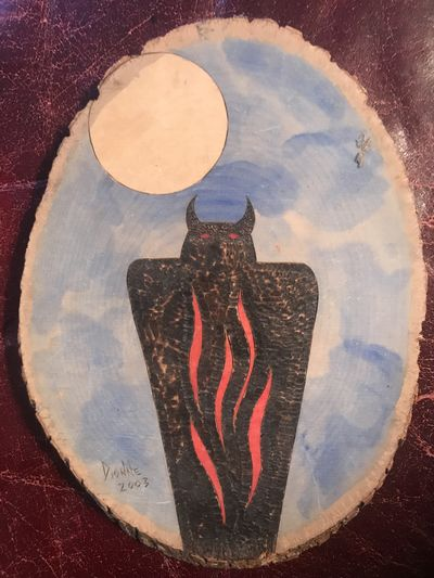 Image for Horned Owl Shadow Figure Possible Utah Pictograph Figure  Hand Painted On 8 x 6 inch Circular Pine Wood Signed 'Dionne 2003' Iroquois Museum
