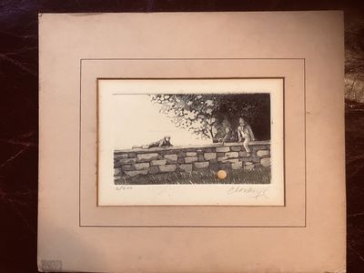 "Image for Paul Cloutier Copper Etching Three Boys On A Wall With Ball Pencil Signed and Numbered 6/200 ""Cloutier 78"" 1978"