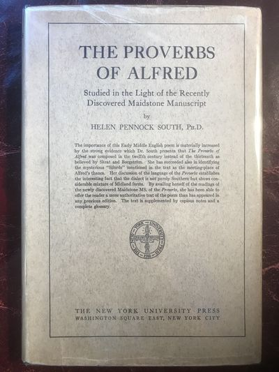 Image for The Proverbs Of Alfred  Studied In The Light Of The Recently Discovered Maidstone Manuscript