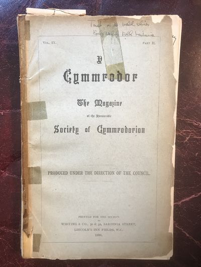 Image for Old Welsh Folk-Medicine Y Cymmrodor The Magazine of the Honourable Society of Cymmrodorion Vol. IX Part II ORIGINAL 1888 EDITION