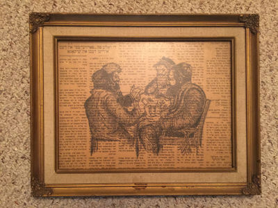 Image for Original Penned Art Of Four Rabbis Playing Cards Drawn Over A Yiddish Newspaper The Daily Forward ORIGINAL WORK Framed