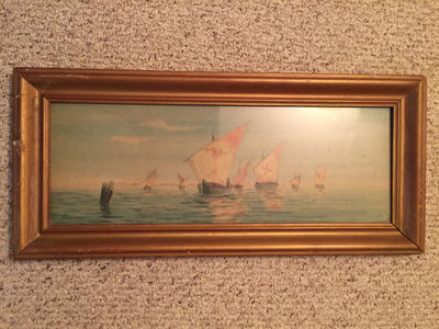 Image for Knight Templar Fleet Watercolor Painting Framed Painting